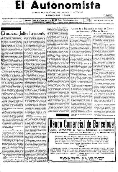 Autonomista, L'. 3/1/1931. [Issue]