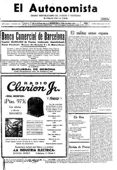 Autonomista, L'. 5/1/1931. [Issue]