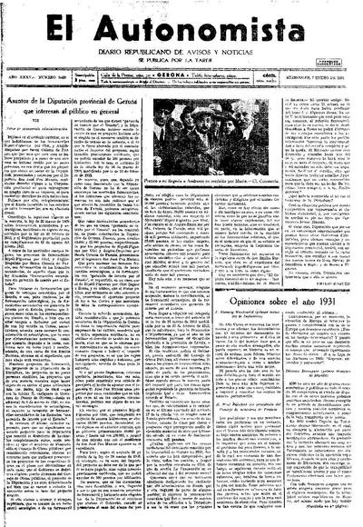 Autonomista, L'. 7/1/1931. [Issue]