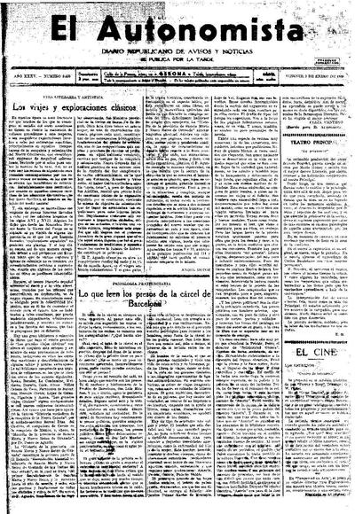 Autonomista, L'. 9/1/1931. [Issue]