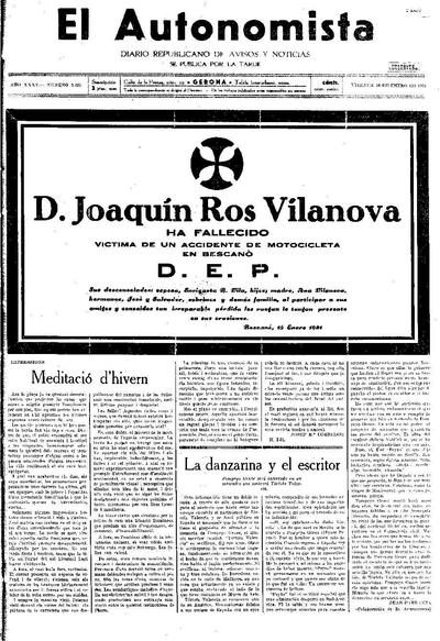 Autonomista, L'. 16/1/1931. [Issue]