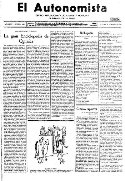 Autonomista, L'. 20/1/1931. [Issue]