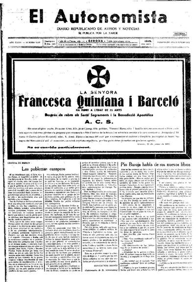 Autonomista, L'. 21/1/1931. [Issue]