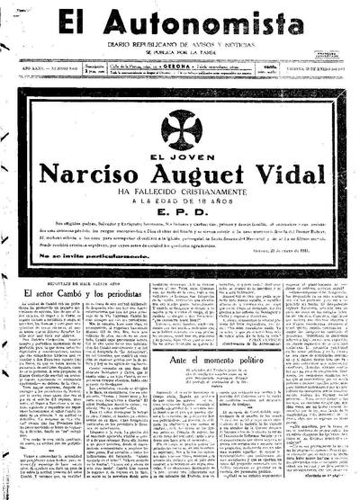 Autonomista, L'. 23/1/1931. [Issue]