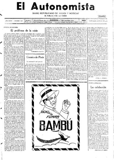 Autonomista, L'. 28/1/1931. [Issue]