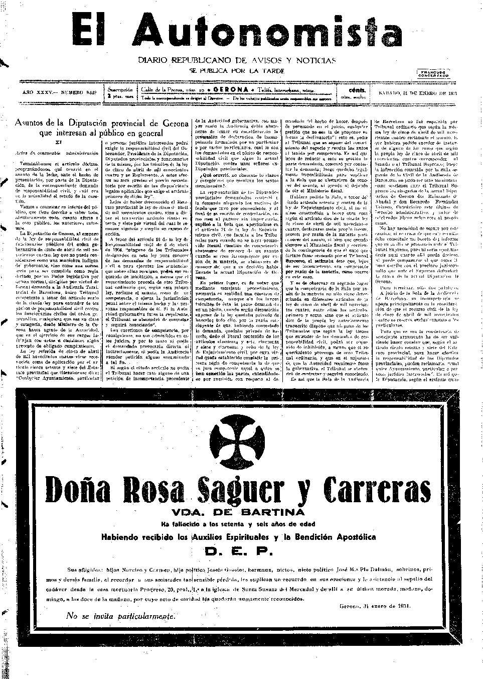 Autonomista, L'. 31/1/1931. [Issue]
