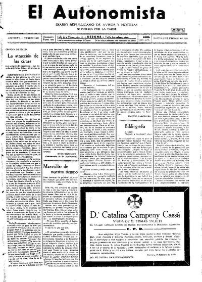 Autonomista, L'. 3/2/1931. [Issue]