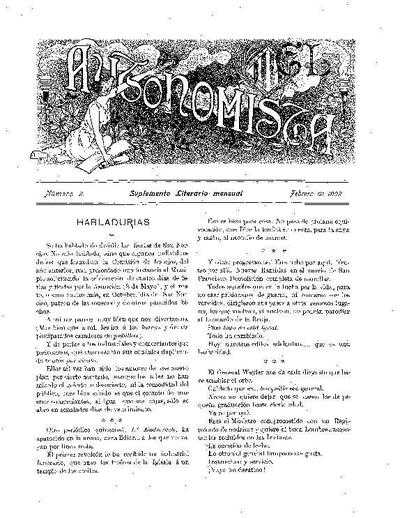 Autonomista. Suplement Literari, L'. 1/2/1902. [Issue]