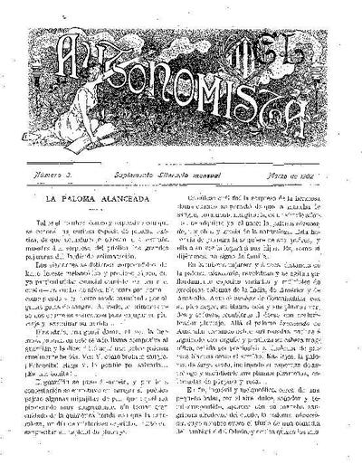 Autonomista. Suplement Literari, L'. 1/3/1902. [Issue]