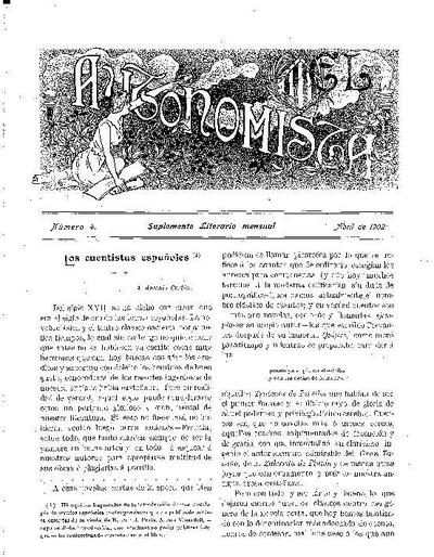 Autonomista. Suplement Literari, L'. 1/4/1902. [Issue]