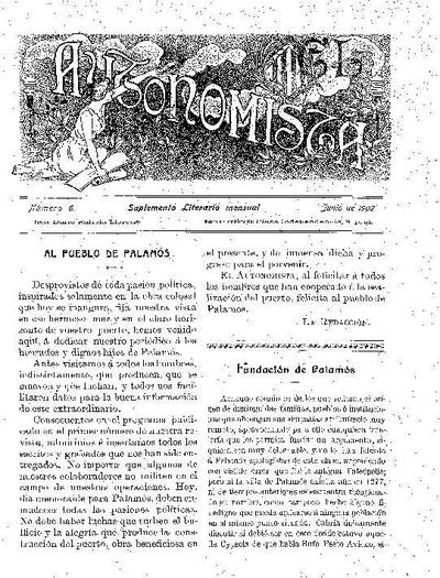 Autonomista. Suplement Literari, L'. 1/6/1902. [Issue]