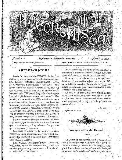 Autonomista. Suplement Literari, L'. 1/8/1902. [Issue]