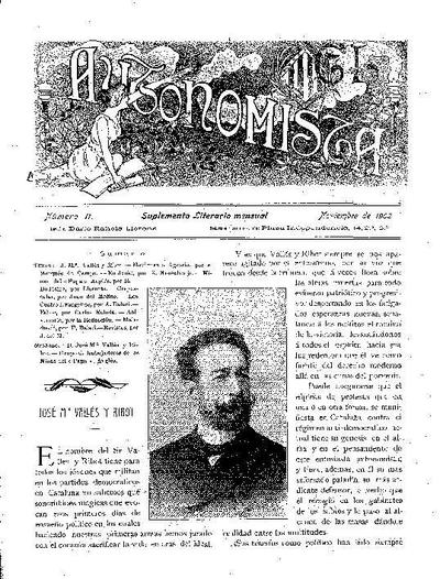 Autonomista. Suplement Literari, L'. 1/11/1902. [Issue]