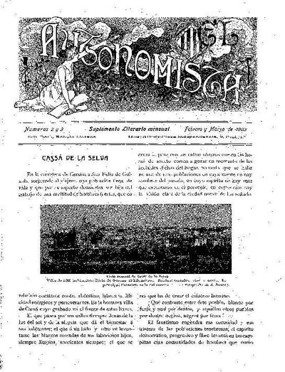 Autonomista. Suplement Literari, L'. 1/2/1903. [Issue]