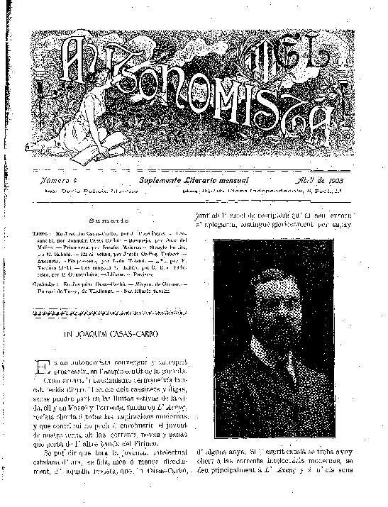 Autonomista. Suplement Literari, L'. 1/4/1903. [Issue]