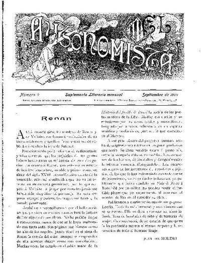 Autonomista. Suplement Literari, L'. 1/9/1903. [Issue]