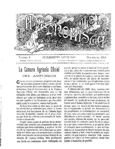 Autonomista. Suplement Literari, L'. 1/10/1904. [Issue]