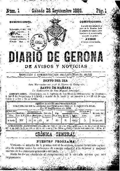 Diario de Gerona de Avisos y Noticias. 28/9/1889. [Issue]