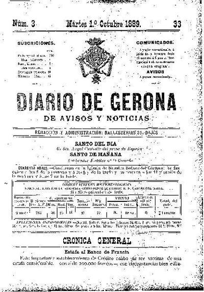 Diario de Gerona de Avisos y Noticias. 1/10/1889. [Issue]