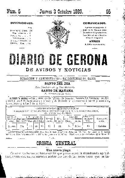 Diario de Gerona de Avisos y Noticias. 3/10/1889. [Issue]