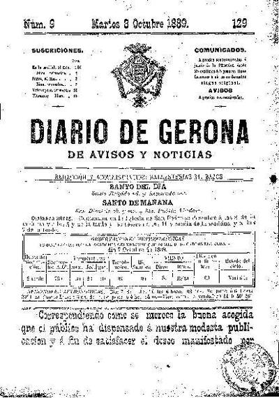 Diario de Gerona de Avisos y Noticias. 8/10/1889. [Issue]