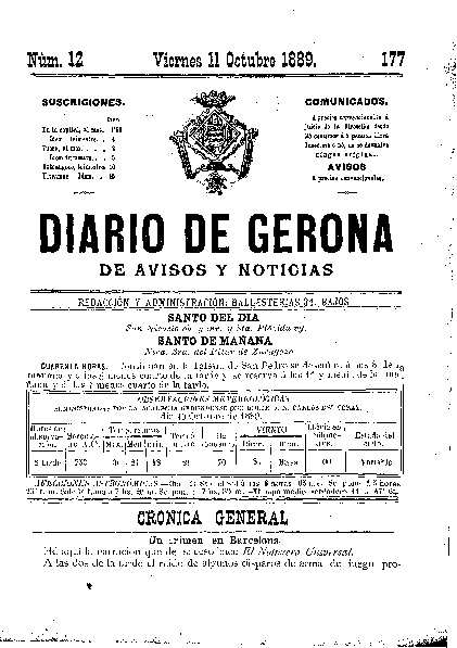 Diario de Gerona de Avisos y Noticias. 11/10/1889. [Issue]