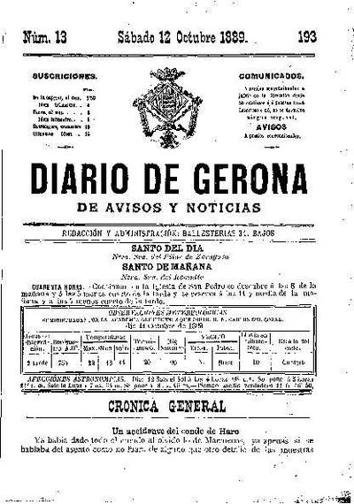 Diario de Gerona de Avisos y Noticias. 12/10/1889. [Issue]