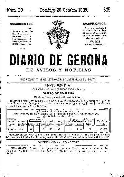 Diario de Gerona de Avisos y Noticias. 20/10/1889. [Issue]