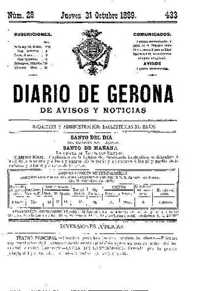 Diario de Gerona de Avisos y Noticias. 31/10/1889. [Issue]