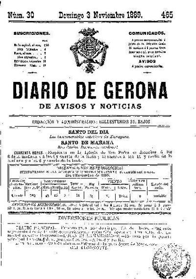 Diario de Gerona de Avisos y Noticias. 3/11/1889. [Issue]