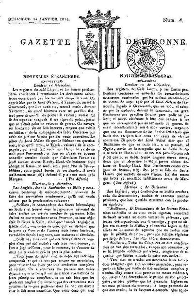 Gazette de Gironne. 12/1/1812. [Issue]