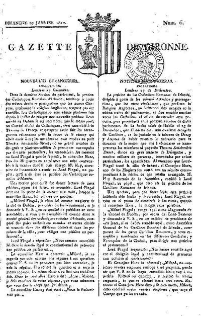 Gazette de Gironne. 19/1/1812. [Issue]