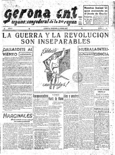 Gerona CNT. 6/6/1937. [Issue]