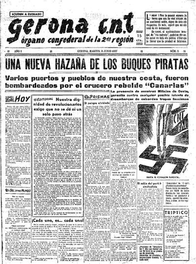 Gerona CNT. 8/6/1937. [Issue]