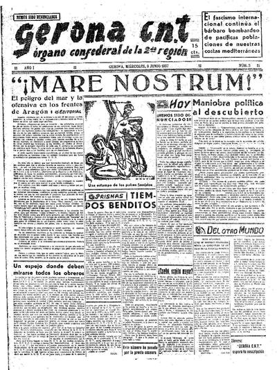 Gerona CNT. 9/6/1937. [Issue]