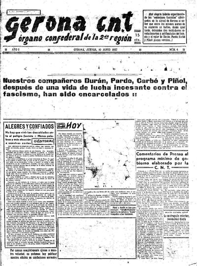 Gerona CNT. 10/6/1937. [Issue]