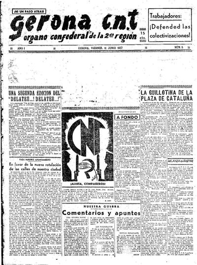 Gerona CNT. 11/6/1937. [Issue]