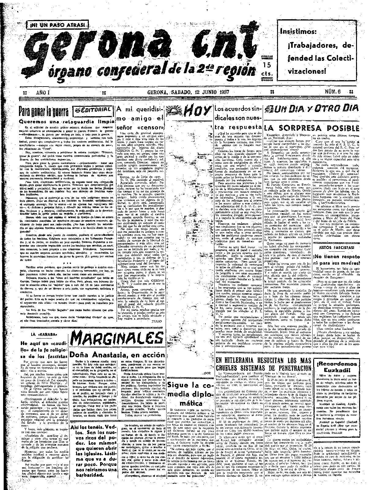 Gerona CNT. 12/6/1937. [Issue]