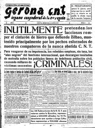 Gerona CNT. 16/6/1937. [Issue]