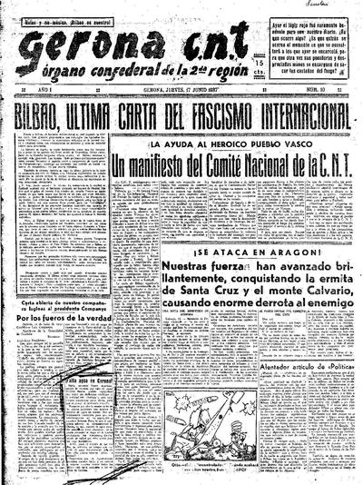 Gerona CNT. 17/6/1937. [Issue]