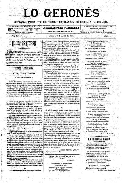Geronés, Lo. 7/4/1894. [Issue]
