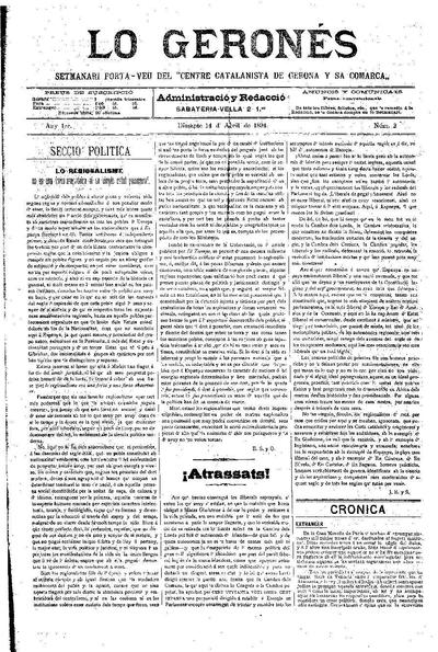 Geronés, Lo. 14/4/1894. [Issue]