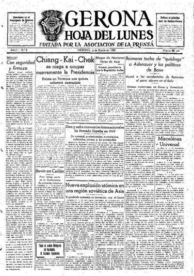 Hoja del Lunes. 9/1/1950. [Issue]