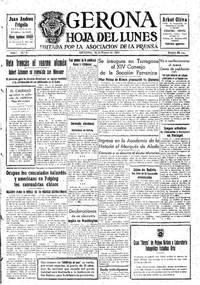 Hoja del Lunes. 16/1/1950. [Issue]