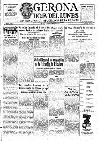 Hoja del Lunes. 13/2/1950. [Issue]