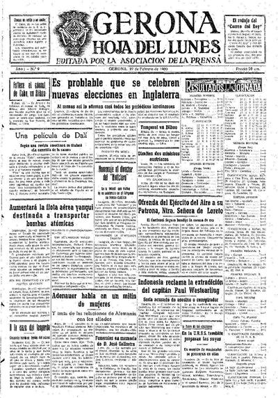 Hoja del Lunes. 27/2/1950. [Issue]