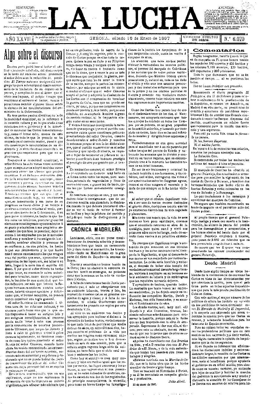 Lucha, La. 16/1/1897. [Issue]