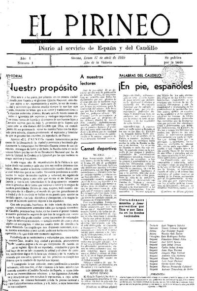 Pirineo, El. 17/4/1939. [Issue]
