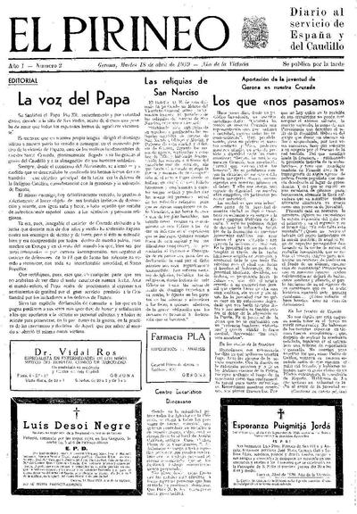 Pirineo, El. 18/4/1939. [Issue]