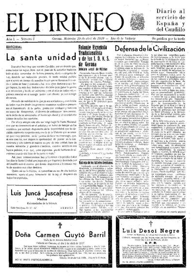 Pirineo, El. 19/4/1939. [Issue]